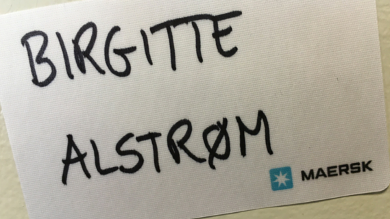 Birgitte Alstrøm name on Maersk name tag